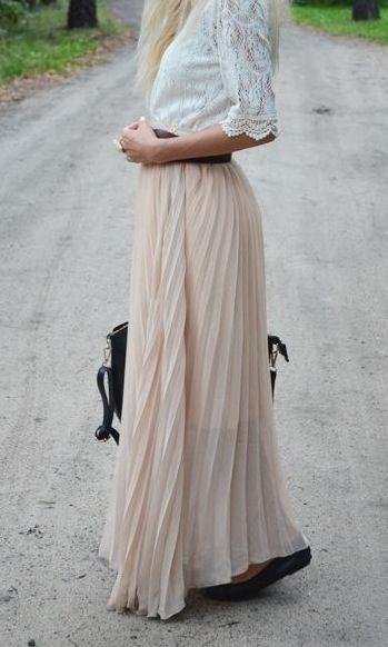 5359c562fc Cream-colored chiffon maxi skirt & lace shirt! #lulus #holidaywear ...