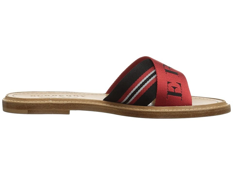 90052294553c0 Burberry Striped Nylon and Leather Slides Women's Sandals Black/Red ...