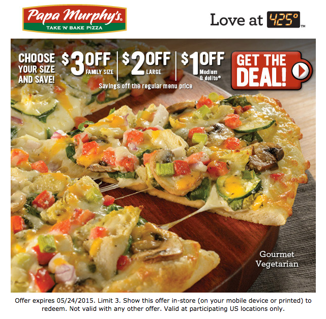 Papa Murphy S Printable Coupon 3 Off A Family Size Pizza 2 Off A Large Or 1 Off A Medium Food Large Pizza Vegetarian Pizza
