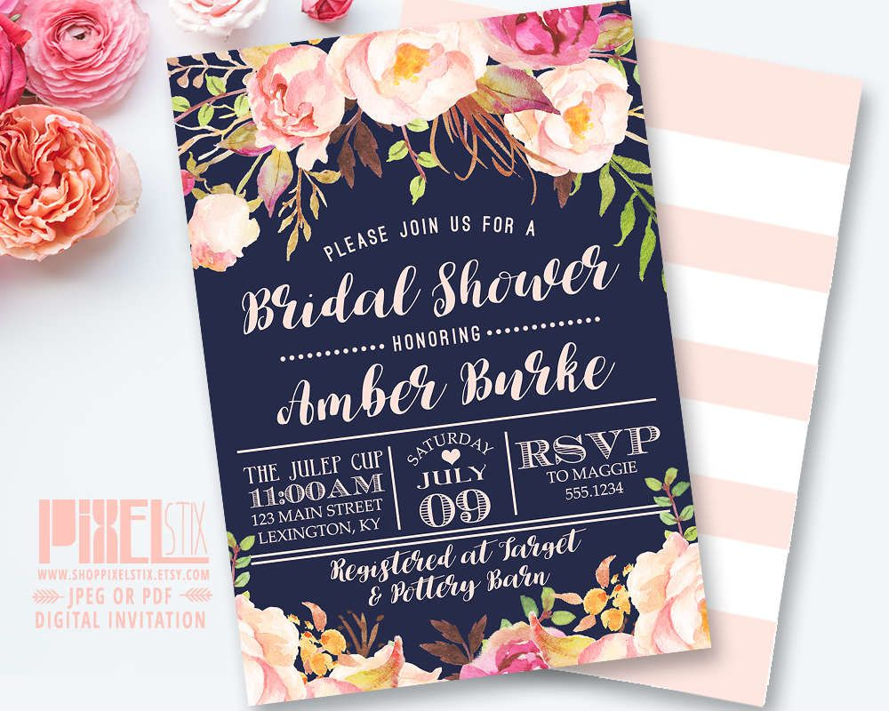 fairytale bridal shower invitation wording%0A Navy Bridal Shower Invitation Printable  Floral Bridal Shower Invite  Blush  Peony Stripes  Rustic