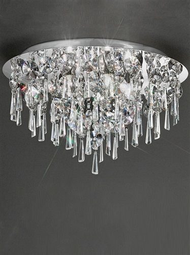 The Franklite Lighting Jazzy Large Round Bathroom Ceiling Light Is In A Chrome Finish With Crystal Glass Drops Graduating From Centre Of