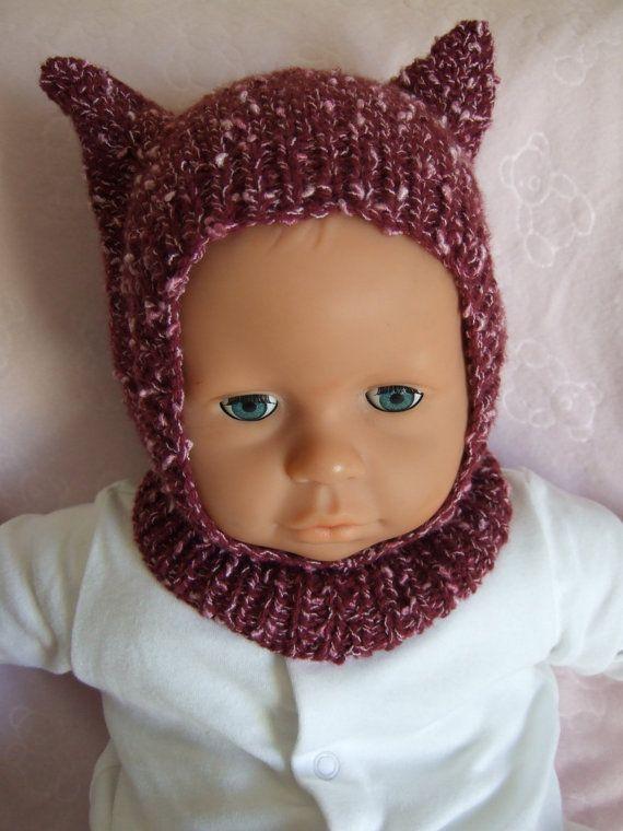 Hand Knitted Girls Cat Ears Hat, Helmet, Balaclava ...