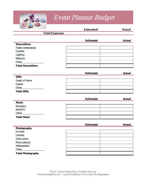 FREE Printable Budget Worksheets Download or Print – Sample Event Checklist Template
