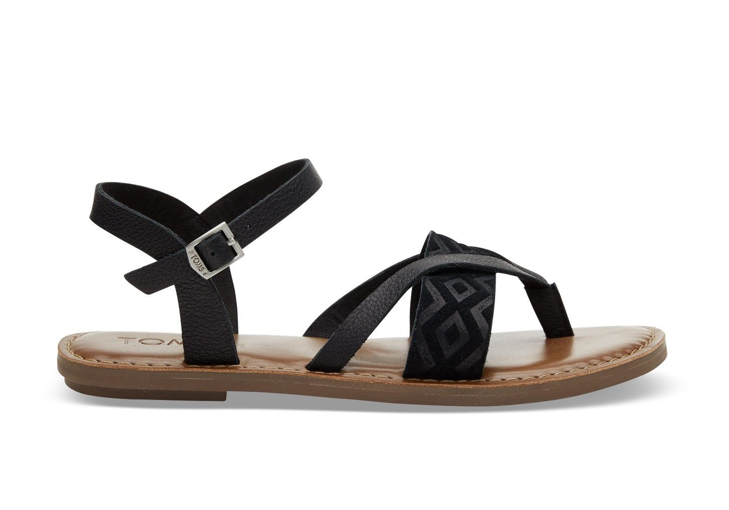 ddffa239274 TOMS TOMS Black Leather Embossed Women s Lexie Sandals.  toms  shoes  all