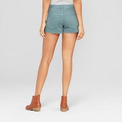 7eeb01b4c37ab Women s High-Rise Shortie Jean Shorts - Universal Thread Green 16 ...