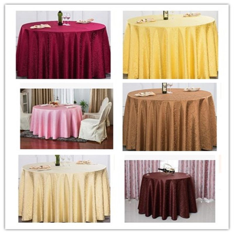 Urijk 100cm Polyester Wedding Tablecloth Jacquard Red Round Table Cloth Hotel Dining Cover Decor Solid