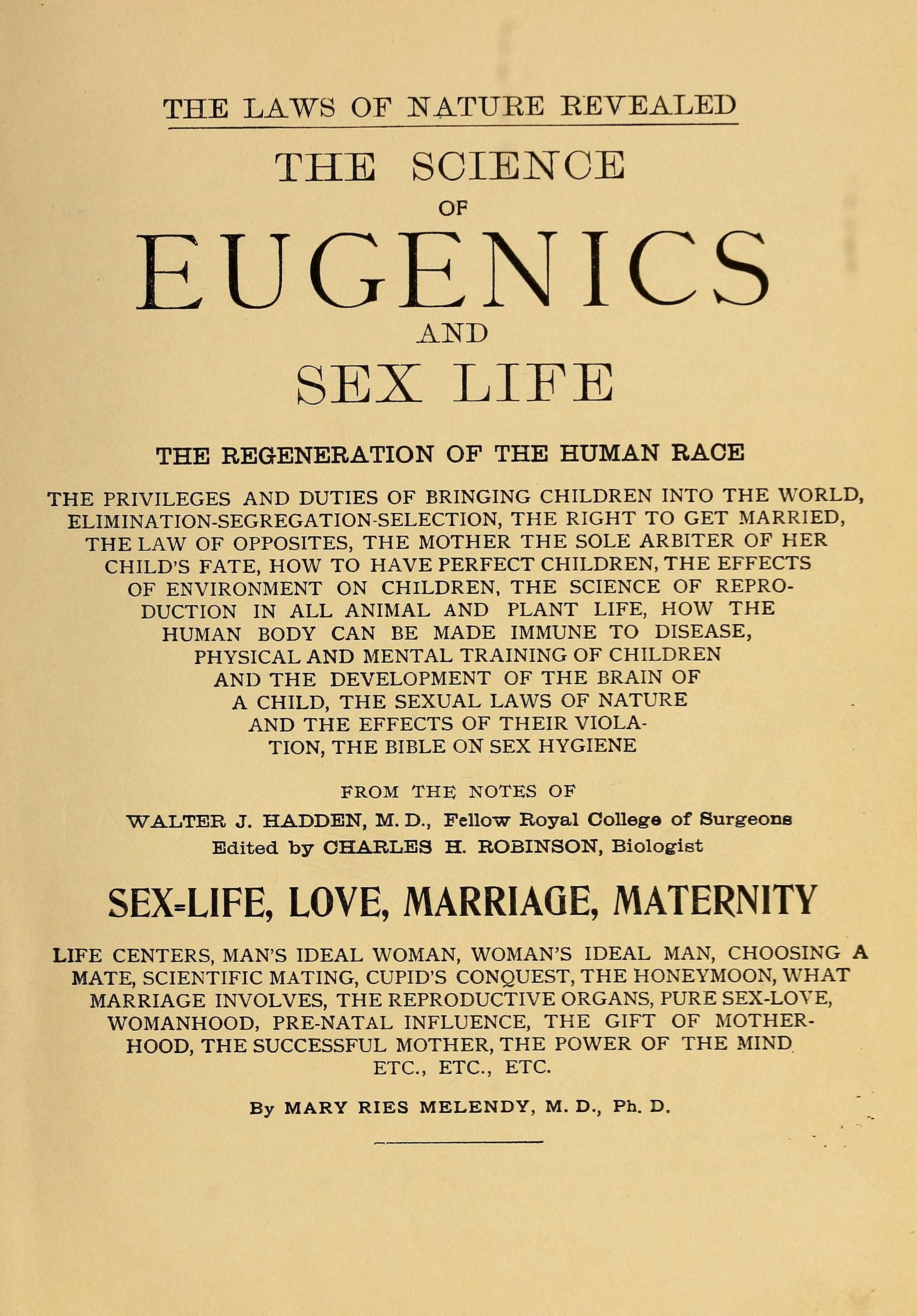 Eugenics law of sex life