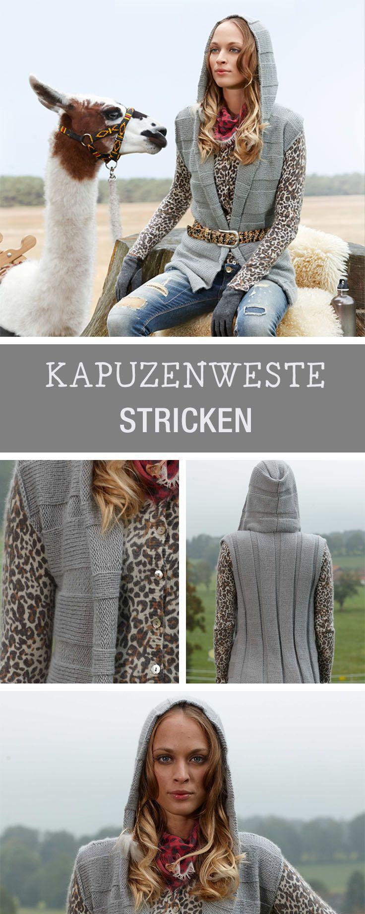 Stricken - DIY-Anleitungen | Pinterest | Weste mit kapuze, Muster ...
