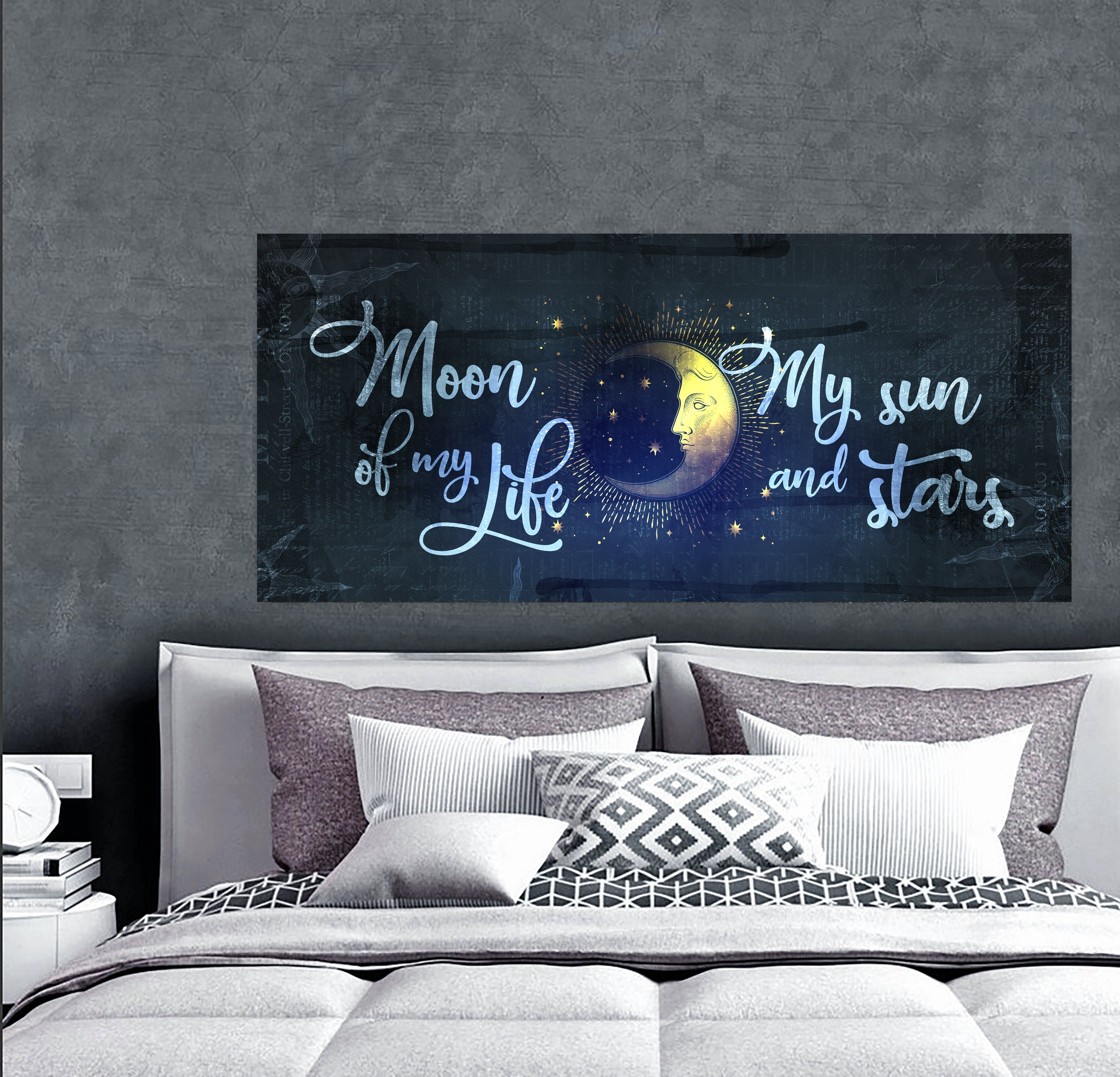 Couples Wall Art Moon Of My Life Wood Frame Ready To Hang Bedroom Decor Painted Wood Walls Wood Mantle Fireplace