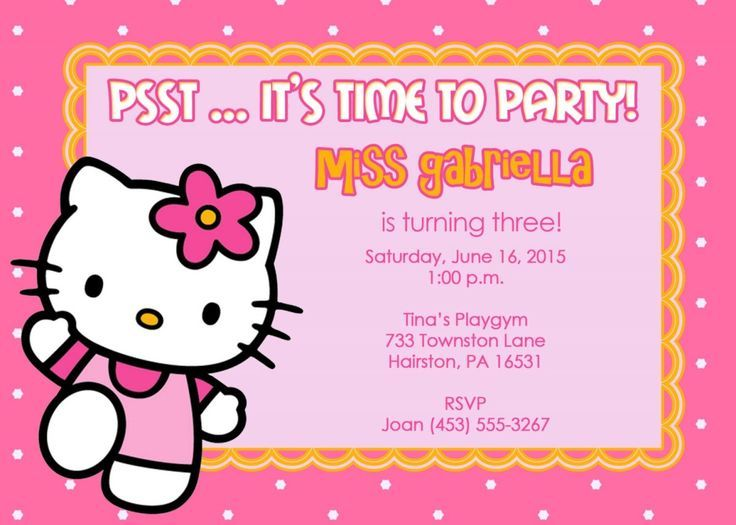 Impressive Free Hello Kitty Custom Invitations Following Cool
