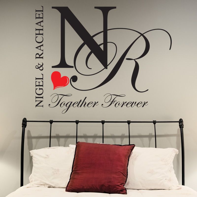 Bedroom wall stickers personalised together forever decals quotes love romance in home furniture diy diy materials wallpaper accessories ebay