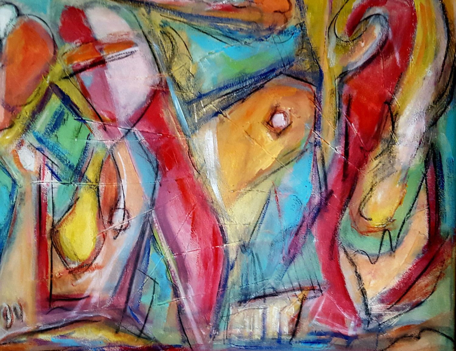 """Original Abstract Painting, Abstract, Colorful Painting, One of A Kind, Mixed Media Painting, """"When We First Meet"""" by KerriPowersArt on Etsy"""