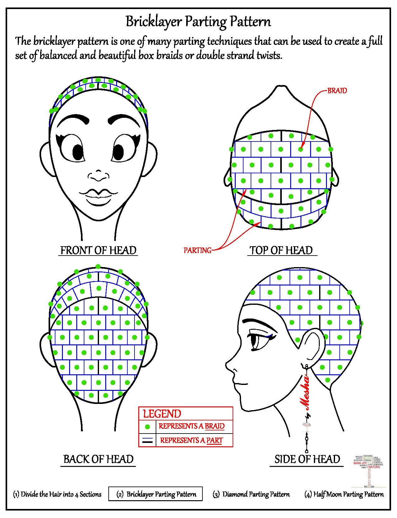 Parting the Hair – Bricklayer Pattern | Trenza, Peinados y Cabello