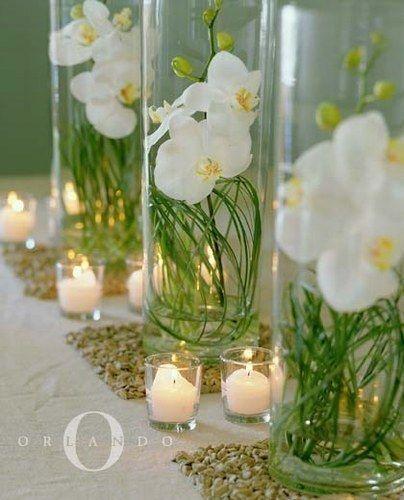 idées déco evenement   centerpieces, pink orchids and table settings