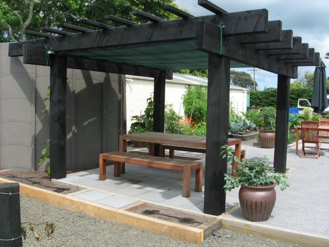 Rustic Yet Somewhat Contemporary Chunky Pergola In