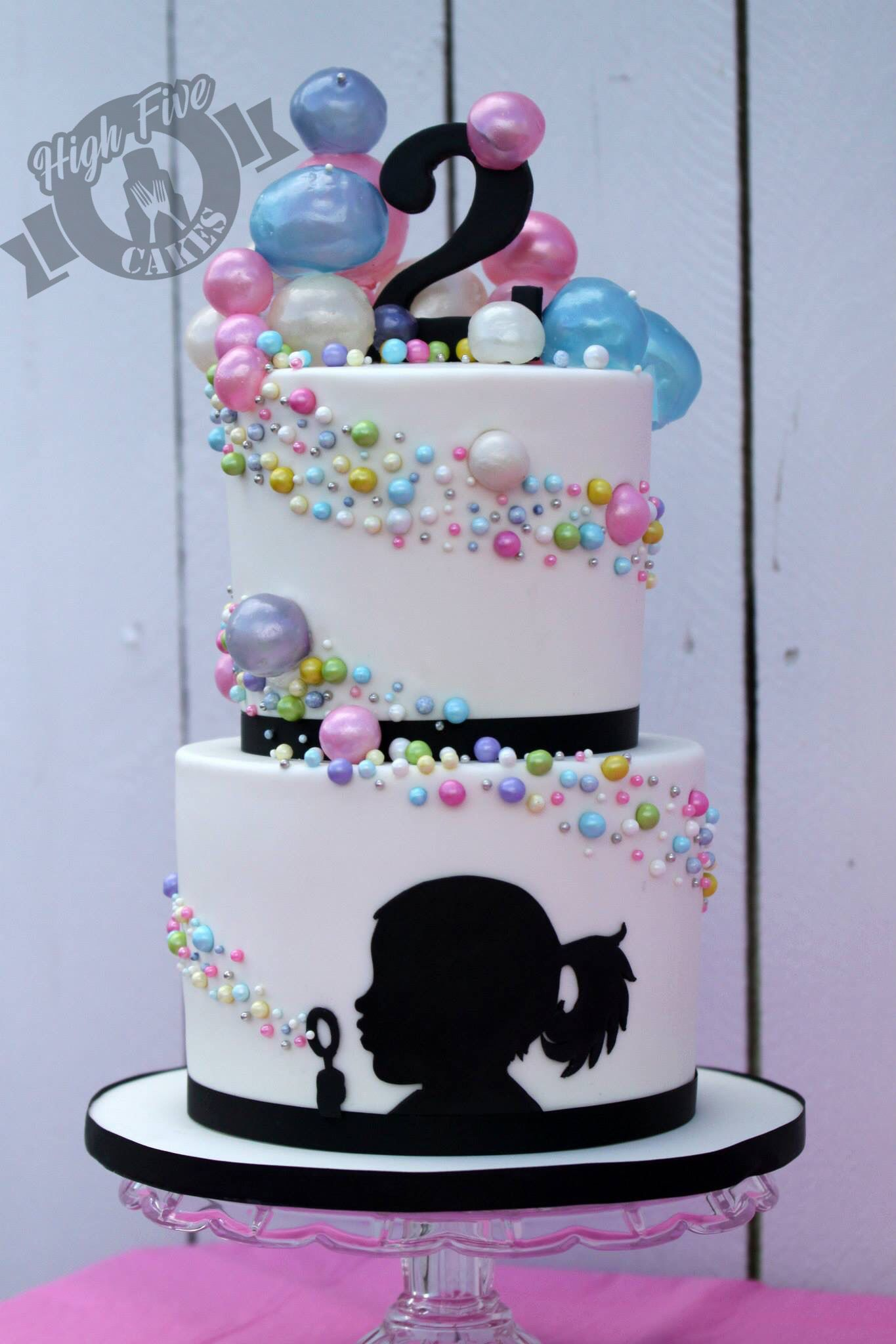 Bubble silhouette cake by High Five Cakes  www.facebook.com/highfivecakeco