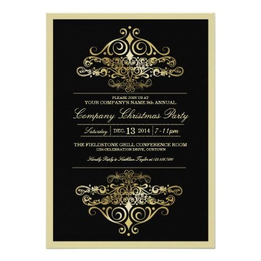 Elegant company christmas party invitation company corporation elegant formal company christmas party invitation cards for companies corporations businesses in black gold white design stopboris Choice Image