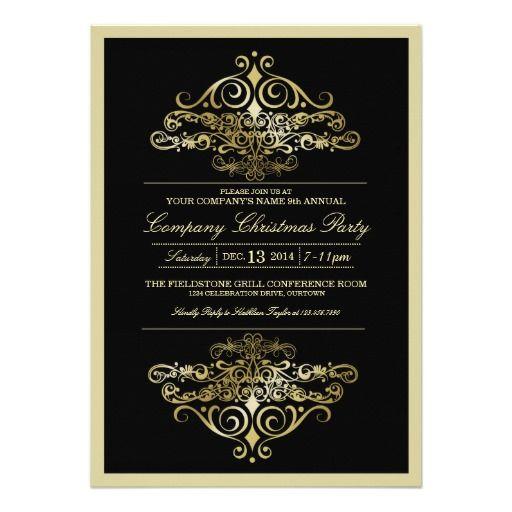 Elegant formal company christmas party invitation cards for elegant formal company christmas party invitation cards for companies corporations businesses in black stopboris Images