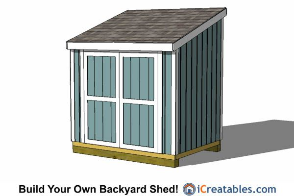 6x8 lean to shed plans with 6 39 double doors 6x8 shed for Double door shed plans