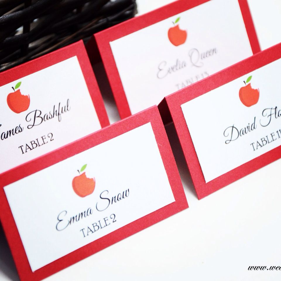 Snow White Inspired place cards/escort cards. Made with true love ...