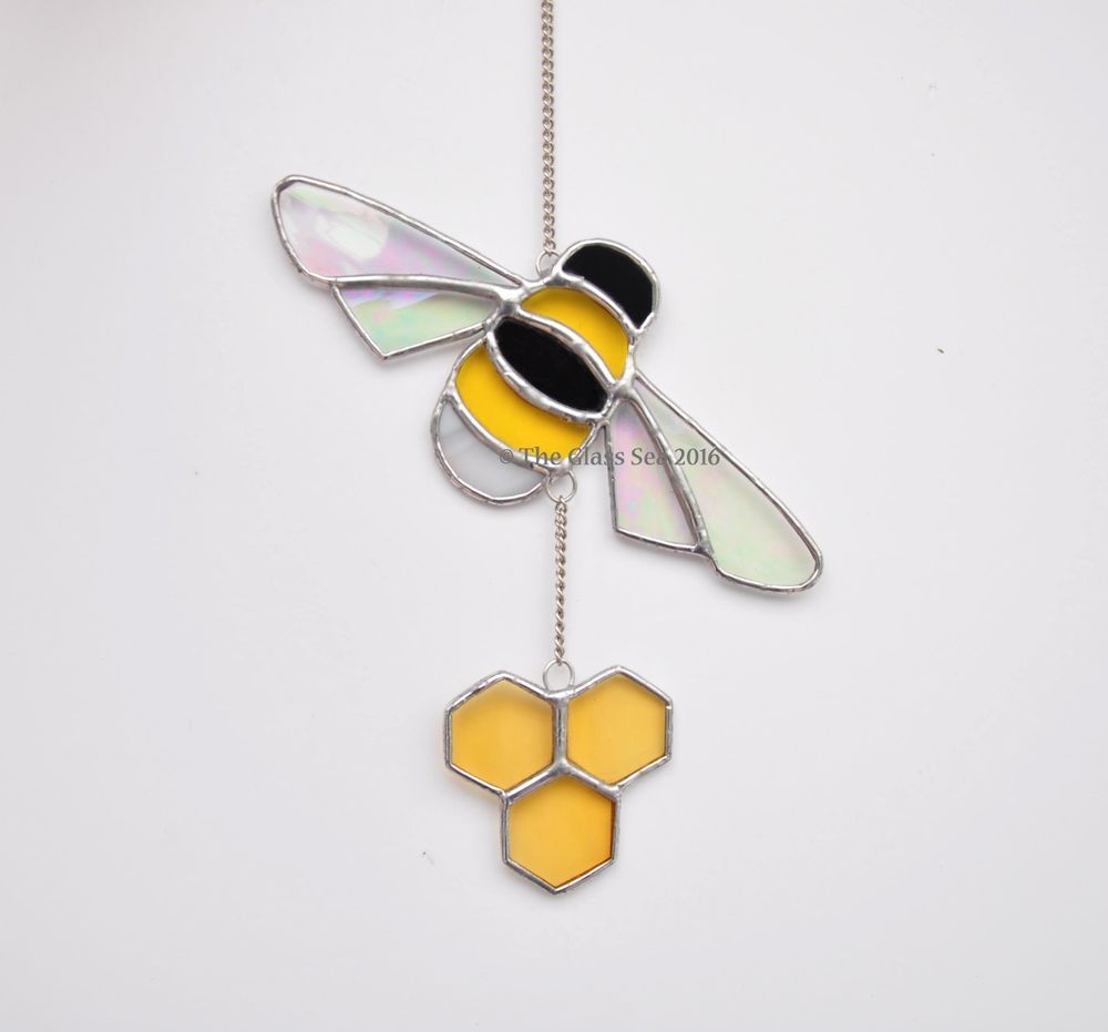Bumble Bee Honeycomb Stained Glass Suncatcher Honey Beekeeping -The ...