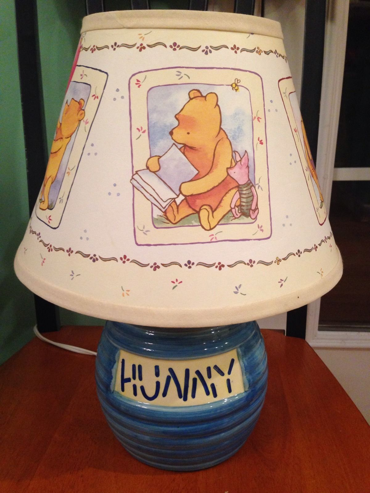 Vintage disney winnie the pooh baby blue hunny pot pooh lamp with vintage disney winnie the pooh baby blue hunny pot pooh lamp with shade aloadofball Images