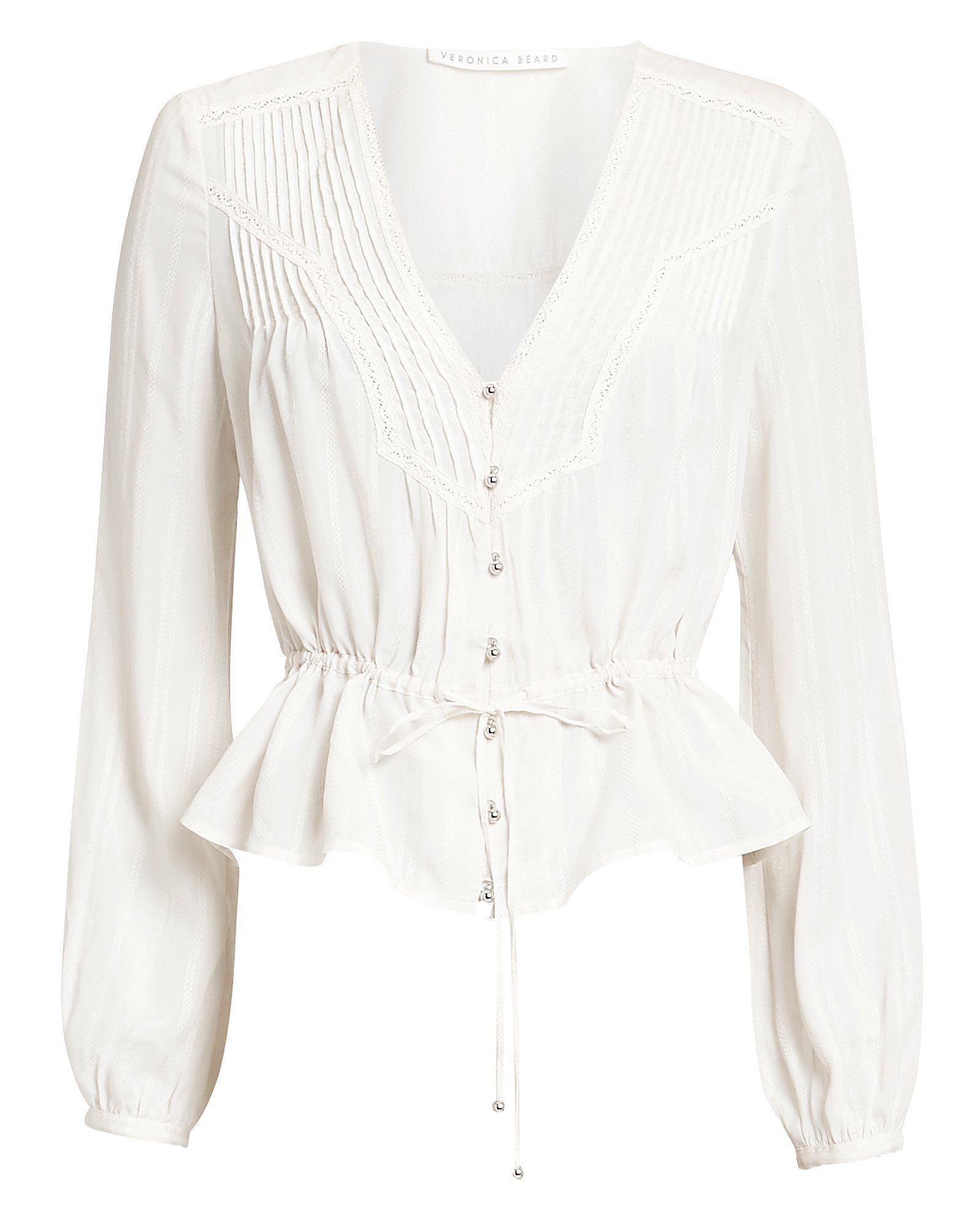 b3cd783d10f VERONICA BEARD PHOEBE DRAWSTRING WAIST BLOUSE WHITE.  veronicabeard  cloth