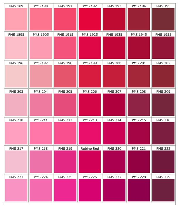 Pink Color Chart Palettes Pinterest Pms Color Chart Pink
