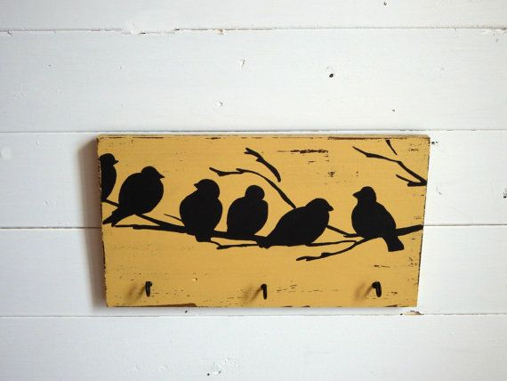 Gift for mom - Wall key holder yellow - rustic key hooks - yellow ...