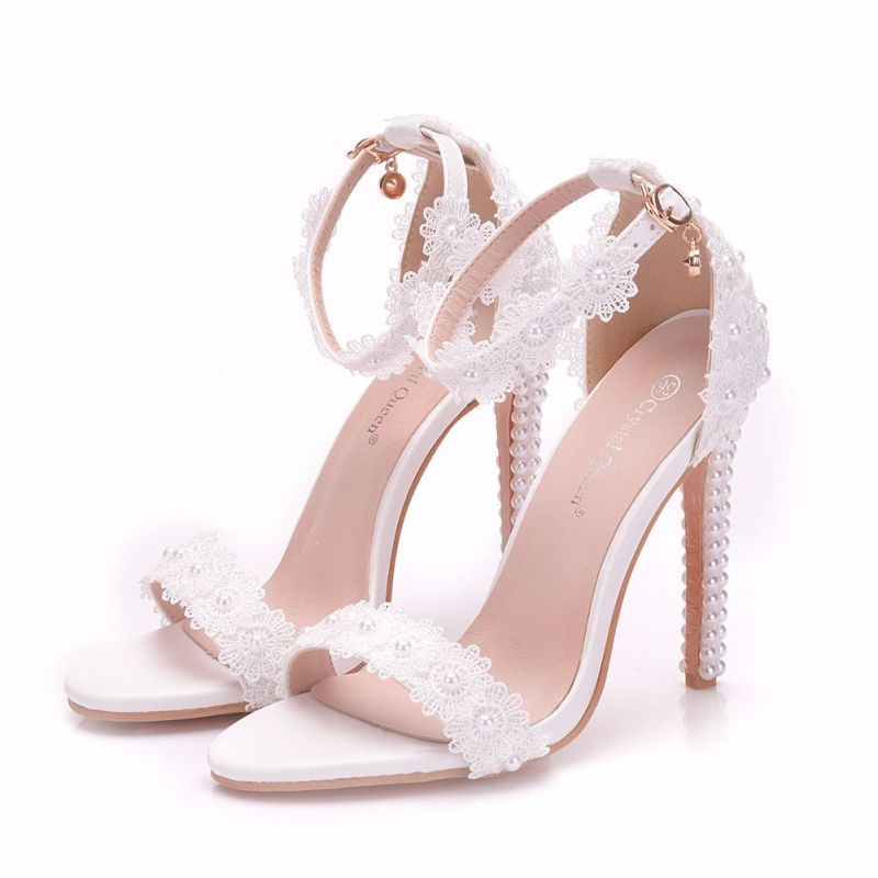Chic Beautiful White Wedding Shoes 2018 Lace Flower Pearl Ankle Strap 9 Cm Stiletto Heels Open Peep Toe Wedding High Heels Wedding High Heels Sparkly Wedding Shoes Wedding Shoes Heels