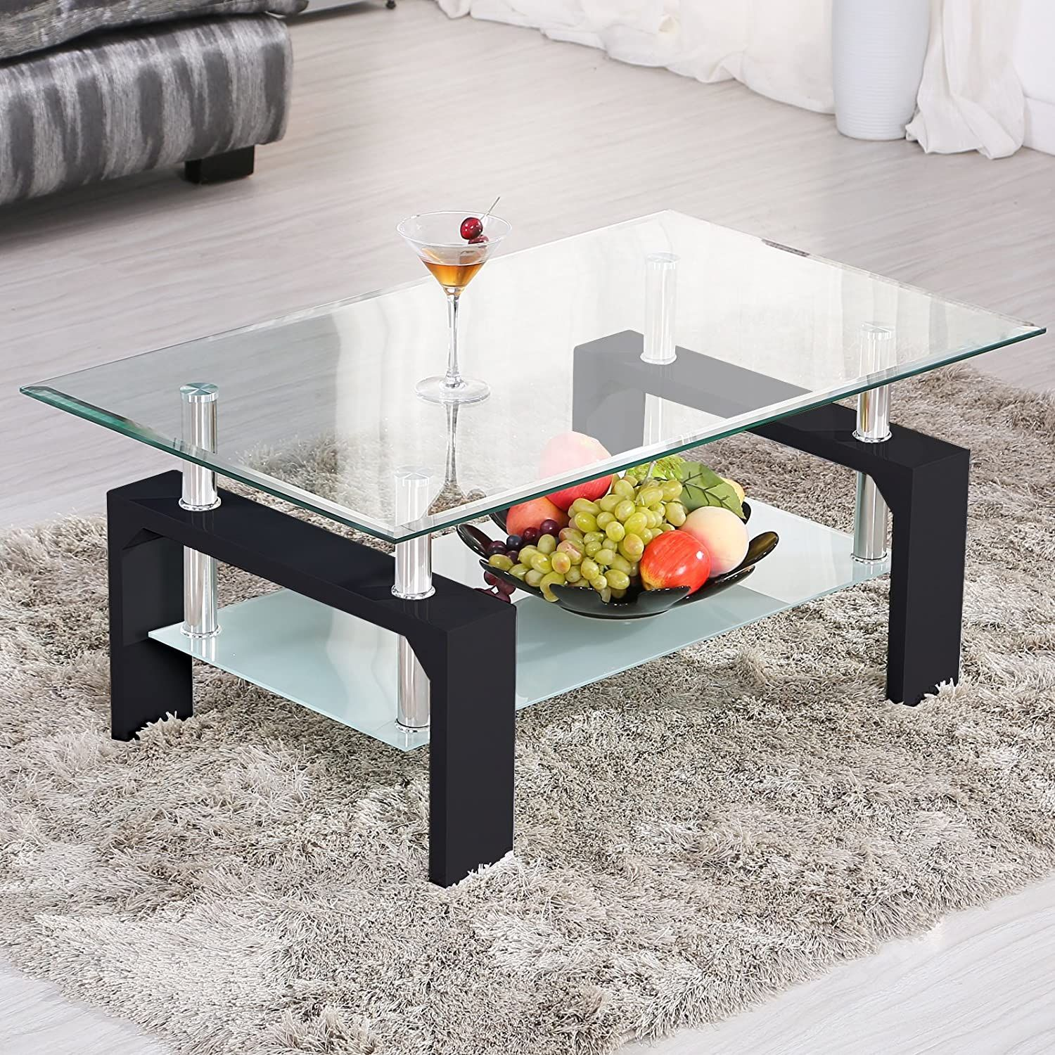 Mecor Rectangle Glass Coffee Table Modern Side Coffee Table With Lower Shelf Black Wooden Legs Black Wood Living Room Furniture Side Coffee Table Coffee Table [ 1500 x 1500 Pixel ]