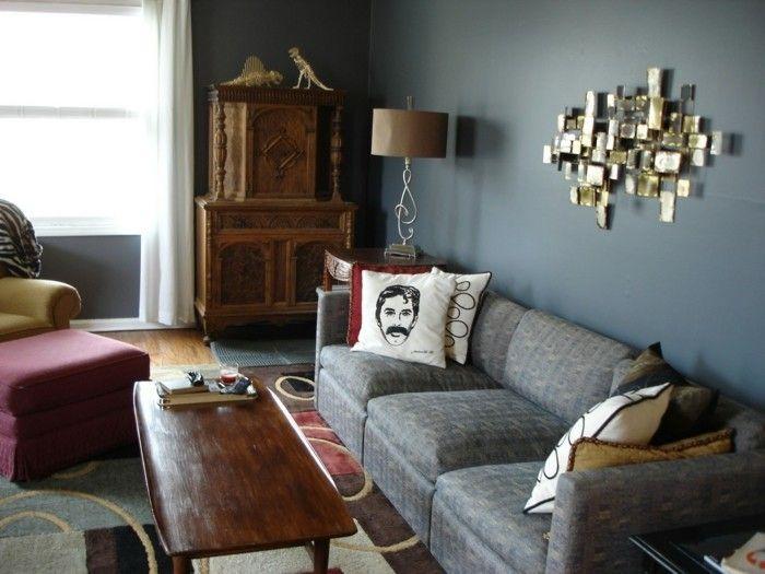 Wohnzimmer Grau Weiße Wände Dekokissen Farbiger Teppich | Farben