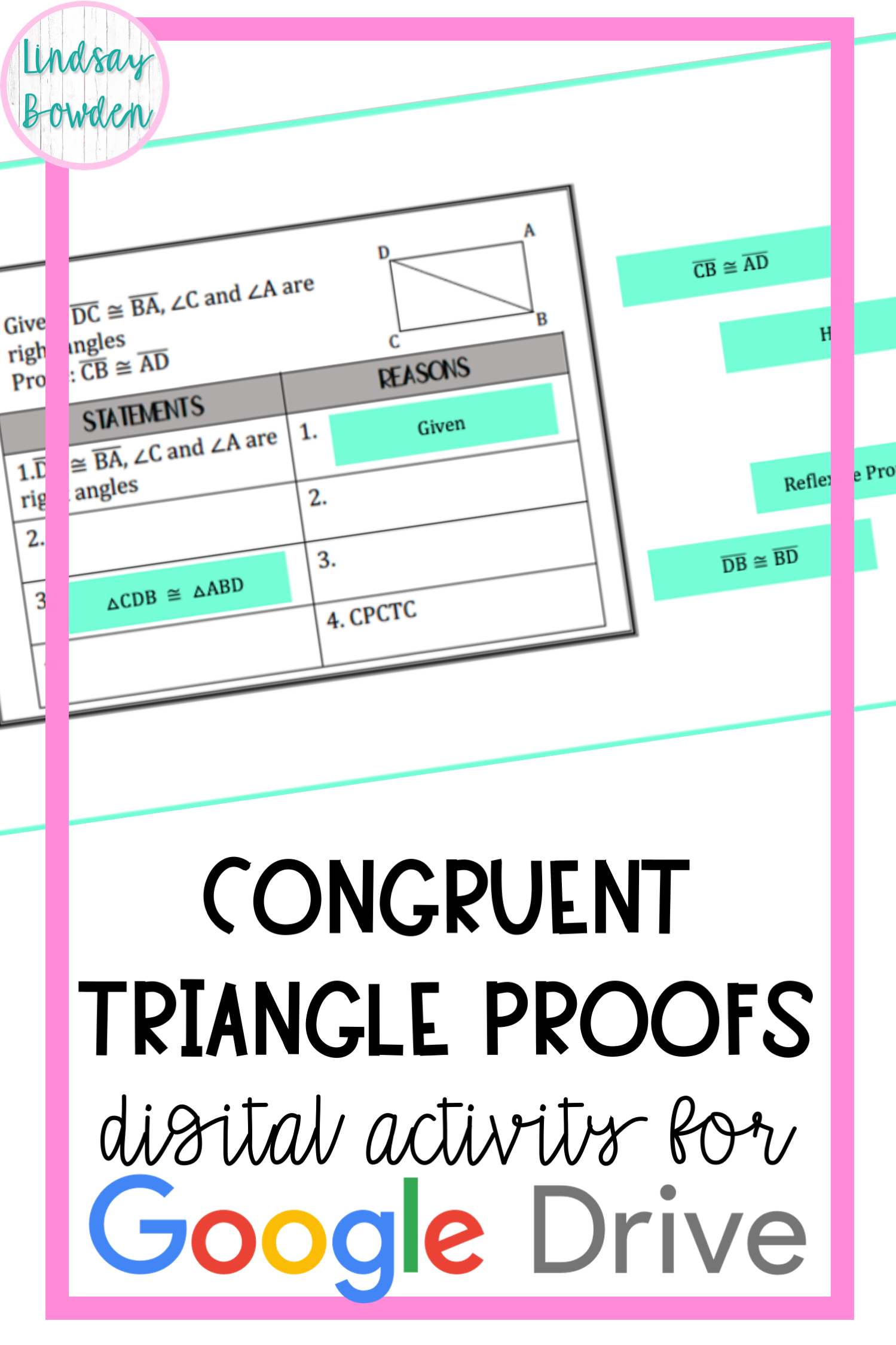 Congruent Triangles Proofs Activity Digital Version In