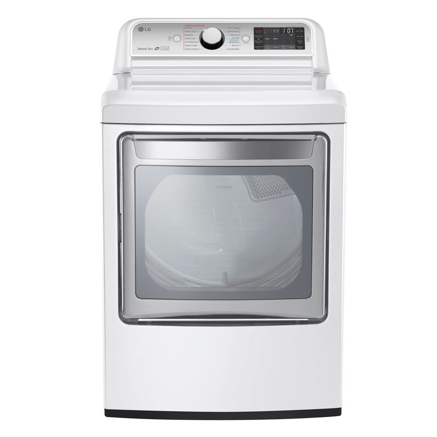 Lg Turbosteam Easyload 7 3 Cu Ft Electric Dryer White Energy Star Lowes Com Electric Dryers Gas Dryer Laundry Room Storage