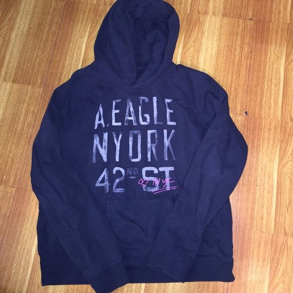 American Eagle hoodie Dark blue hoodie, pre-loved, in great condition. Planning to purchase or made an offer on the item? Please, leave a comment  American Eagle Outfitters Tops Sweatshirts & Hoodies