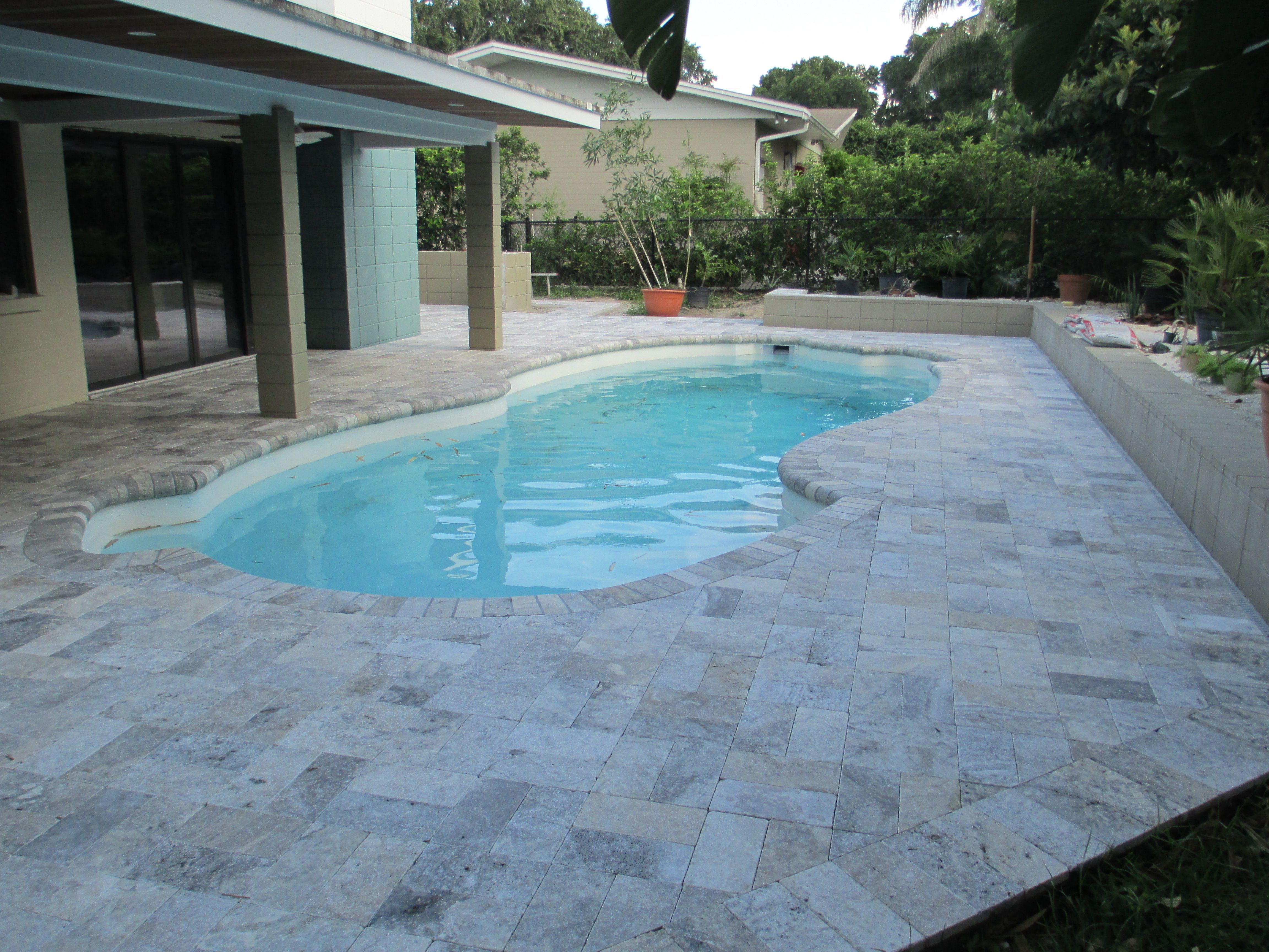 Painting Of Falling In Love With Travertine Pavers Pool Deck