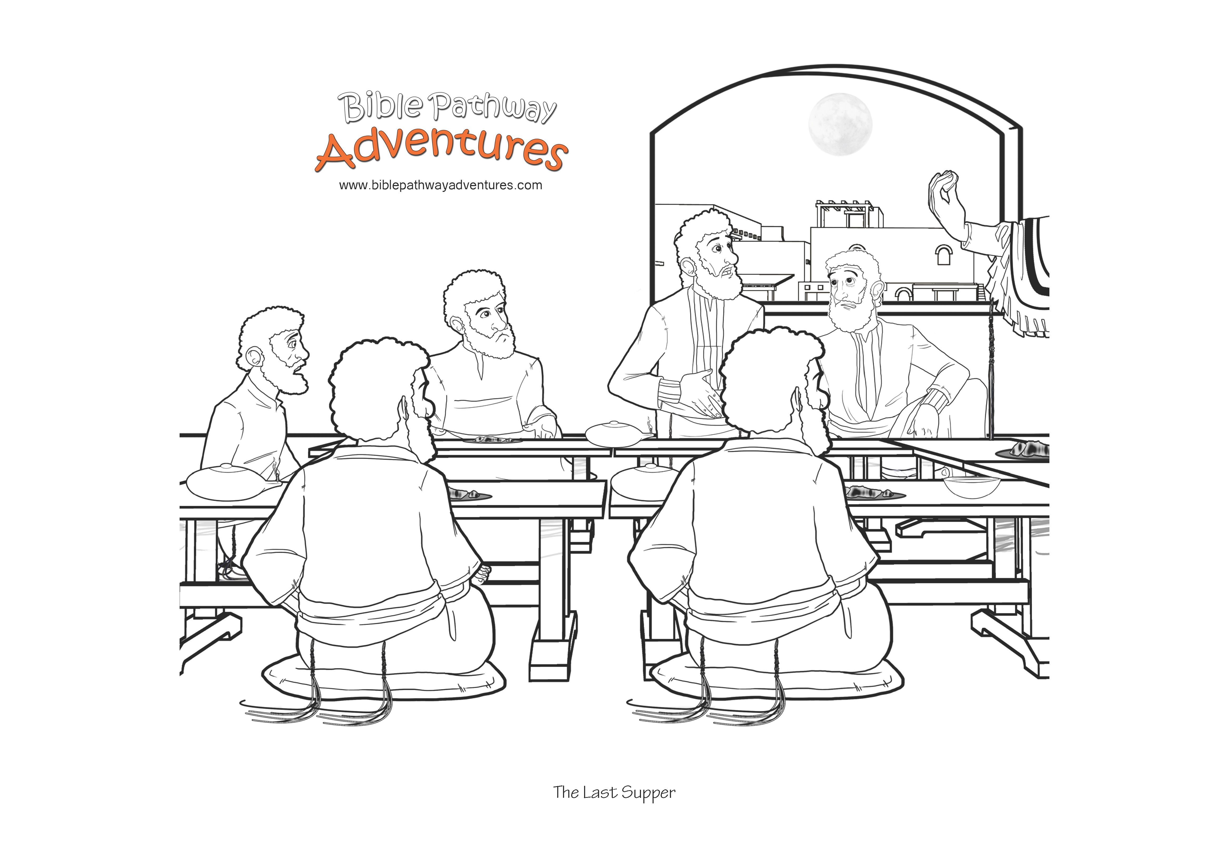 Bible Coloring Page The Last Supper With Images