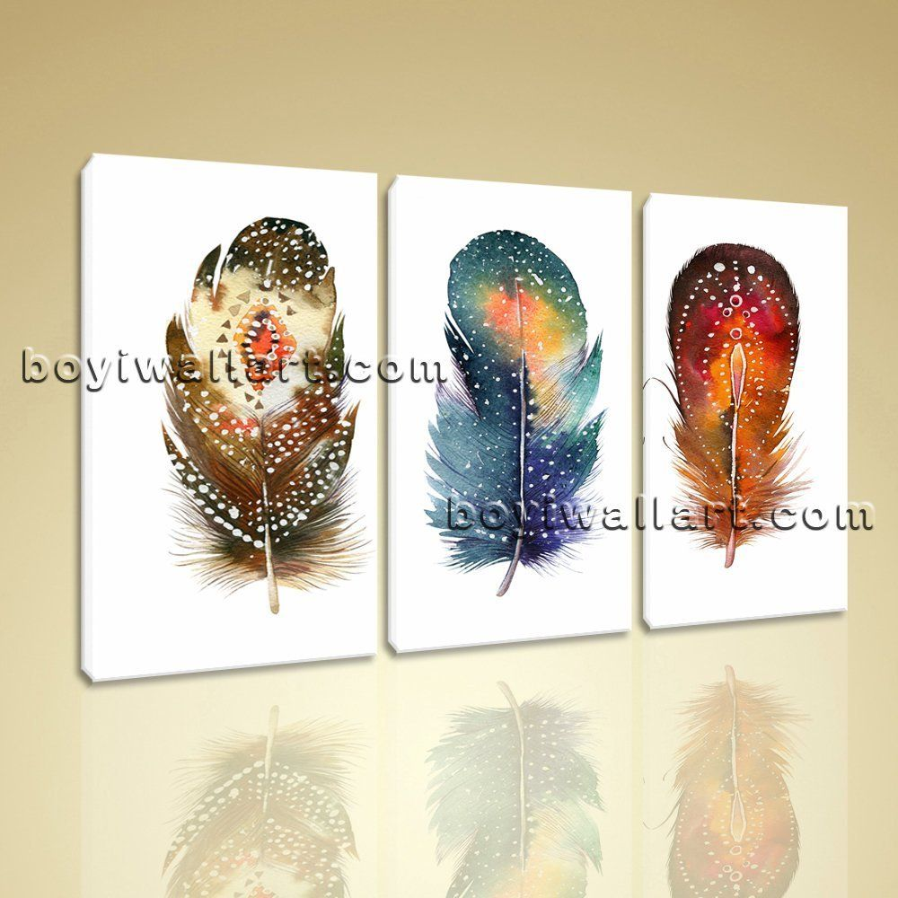 Large curved feathers watercolor other abstract wall art print three