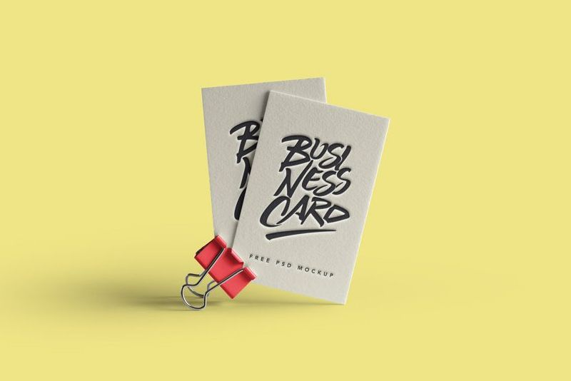 Business Card Mockup On A Clip With Emboss Effect With Images