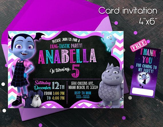 Vampirina Invitation, Vampirina Birthday Party, Vampirina Birthday  Invitation, Free Thank You Cards,