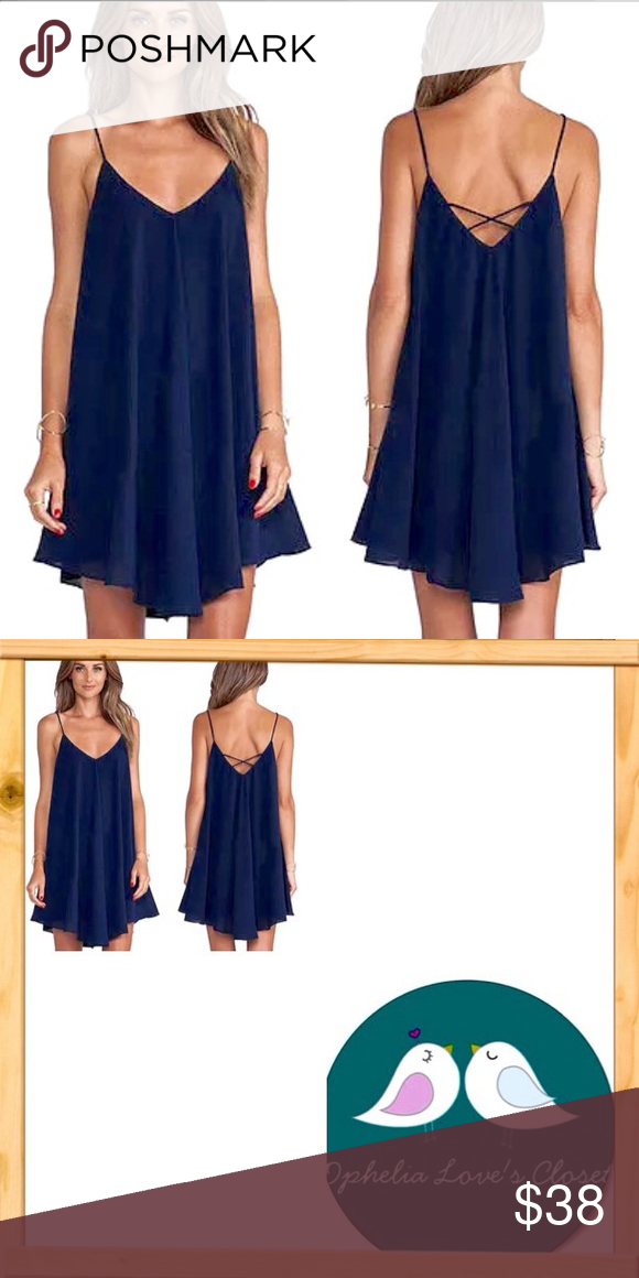 ❤️1 Day Sale!❤️NWT Navy Blue Mini Summer Dress❤️ ❤️NWT Navy Blue Mini Summer Dress❤️, chiffon material , spaghetti straps with cross cross back. Built in Slip!! Size Small (33B26W28L) Size Medium (34B28W28L), boutique Dresses Midi
