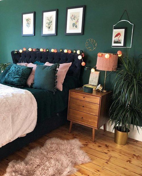 19 Inspiration Green Bedroom in 2019 #GreenBedroom dark green bedroom, green bedroom decor, green curtains bedroom, green and brown bedroom, green bed...