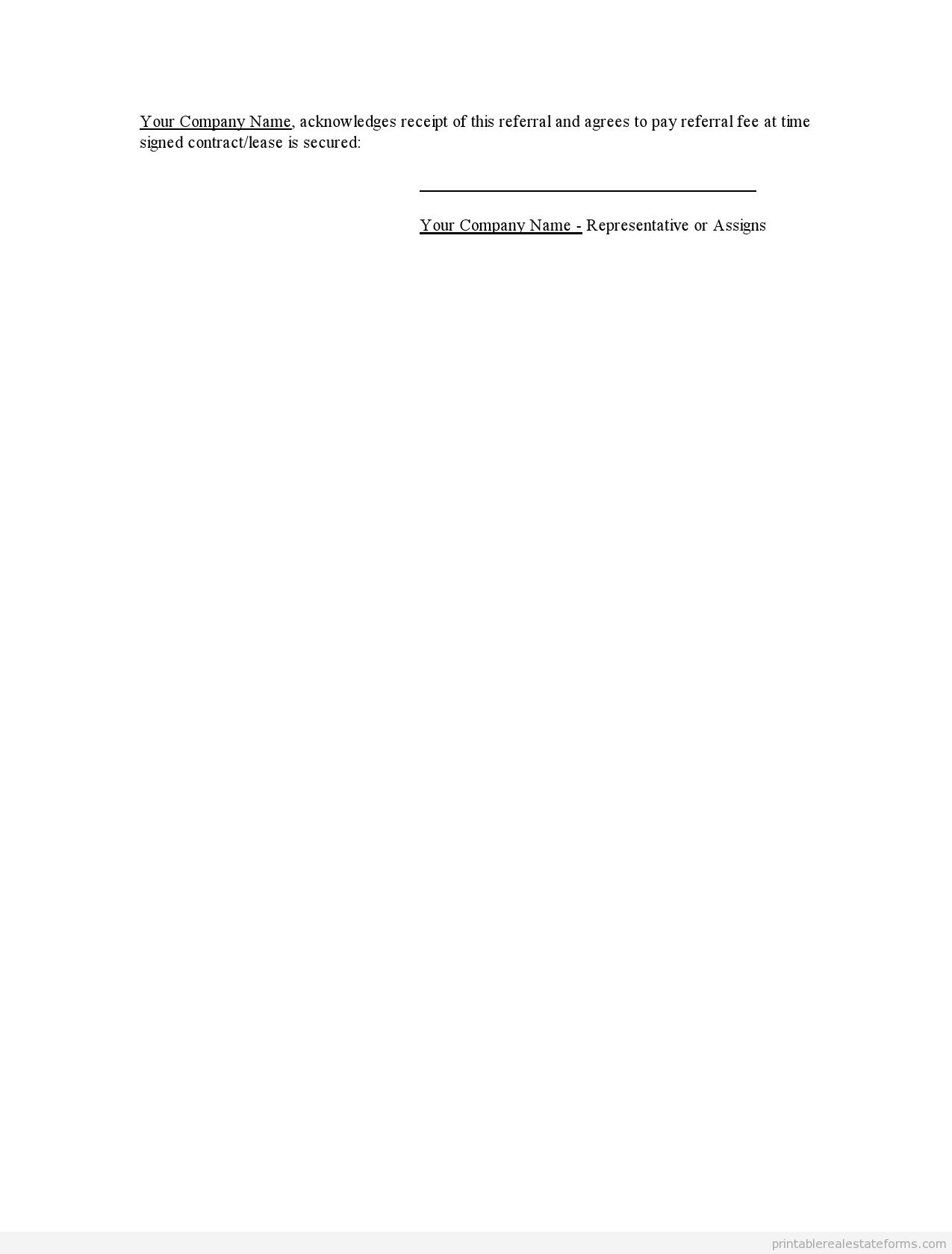 Printable Referral Sheet For Realtors Template