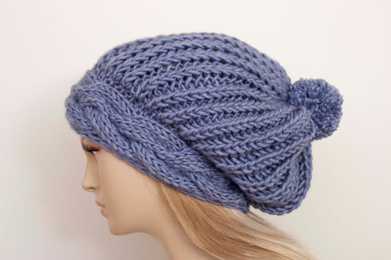 Big Sale -Slouchy beanie with pom pom oversized beanie hat winter knit hat  for woman in light deni e0597ee5667