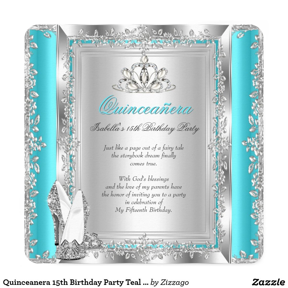 Quinceanera 15th Birthday Party Teal Silver Shoes Card | 15th ...