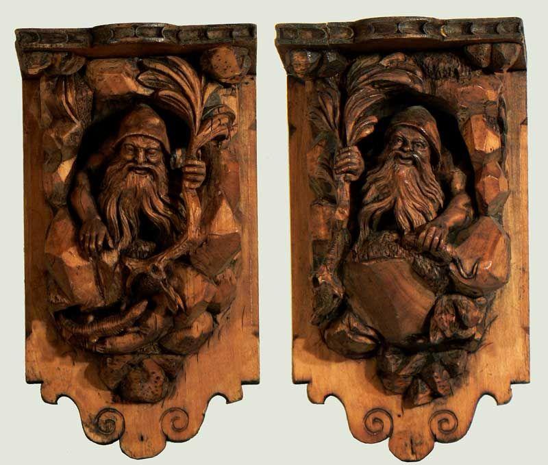 Carved Wood Racks With Dwarfs Ca 1900 Antique Black Forest Wood