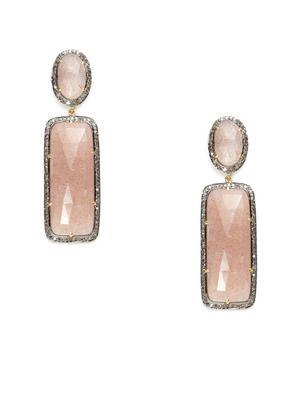 Karma Jewels Pink Moonstone Oval & Rectangle Drop Earrings
