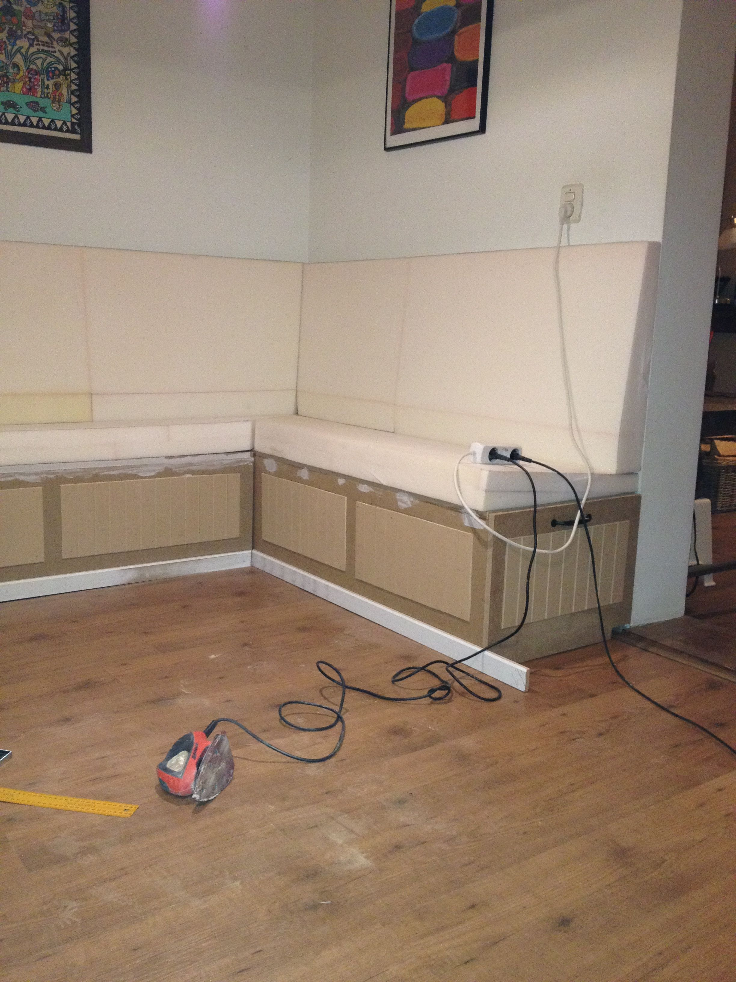 Keukenbank op maat gemaakt van mdf frontjes patroon - Moderne keukenbank ...
