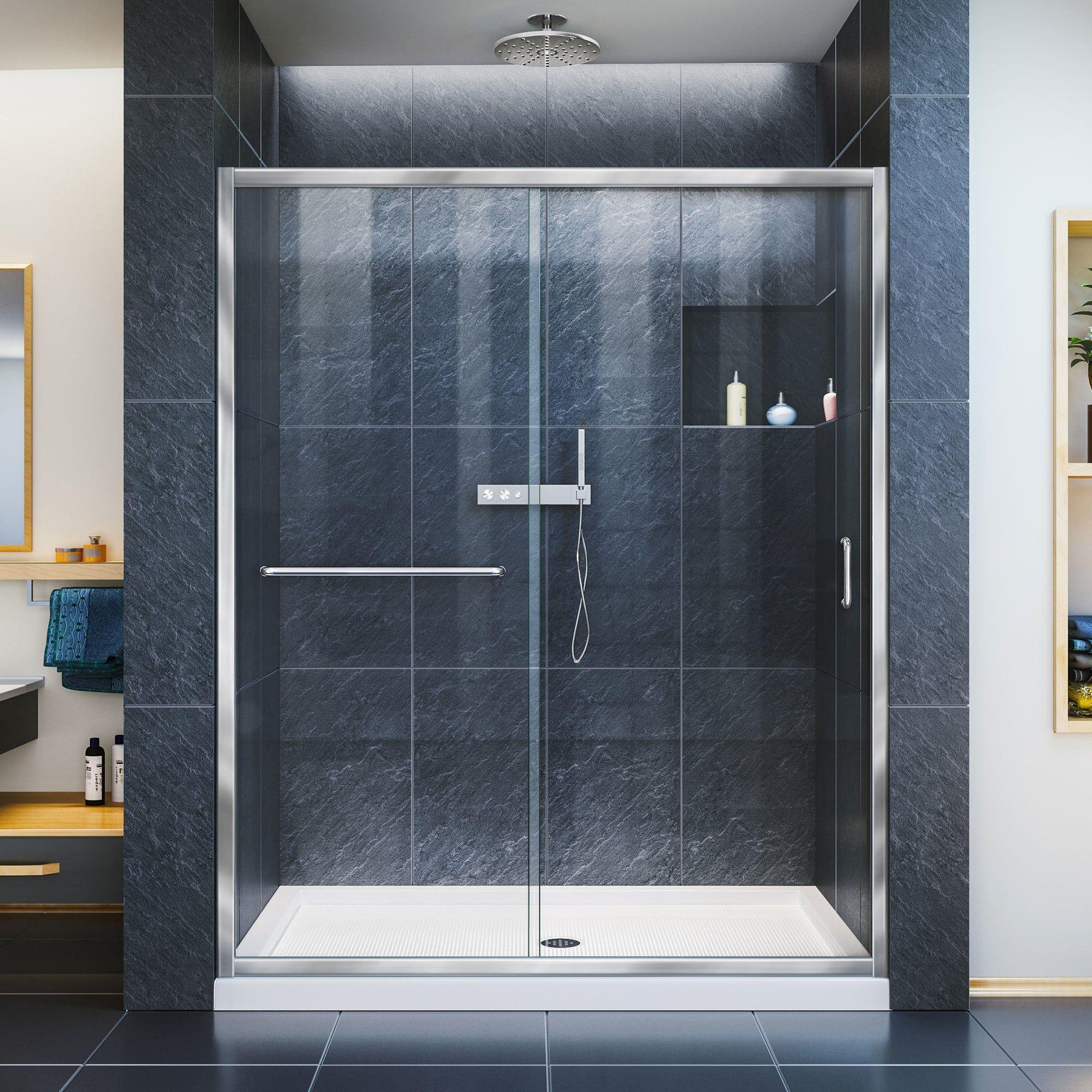 Dreamline infinityz frameless sliding shower door and slimline
