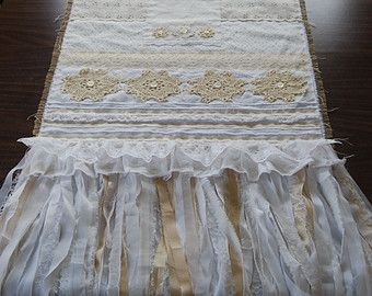 Love is the Thread - Vintage Lace and Burlap Shabby Chic Hand Stitched Wedding Table Cloth Runner